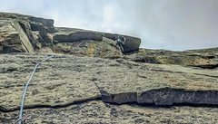 Rock Climbing Photo: Emil Brehm pulling the roof on the 4th pitch. Don&...