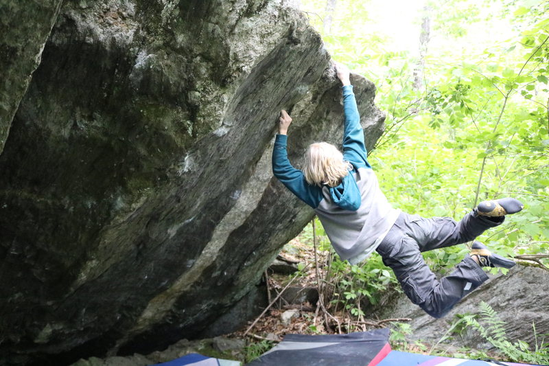 Jake Perry sticking the final move of Things in the Woods. Great movement, great holds, and all around a great problem.