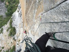 Rock Climbing Photo: Looking down pitch 4.