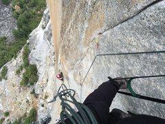 Rock Climbing Photo: Looking down pitch 4.