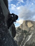 Rock Climbing Photo: This is about the last aid move on the route follo...