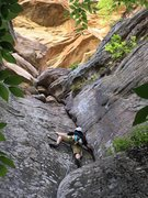 Rock Climbing Photo: A friend cruising up on a hot summer day. The star...