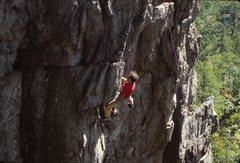Rock Climbing Photo: My dad on The Dish, 5.9 at Crowders sporting a pai...