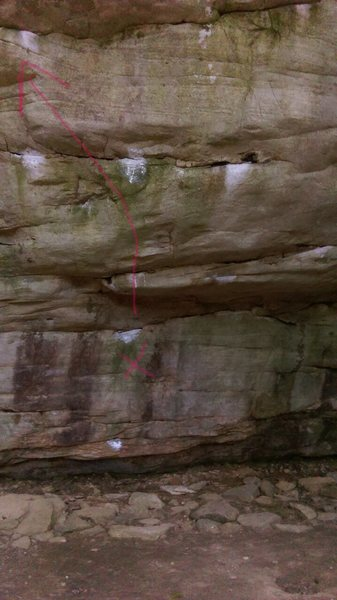 Rock Climbing Photo: Route traced in pink