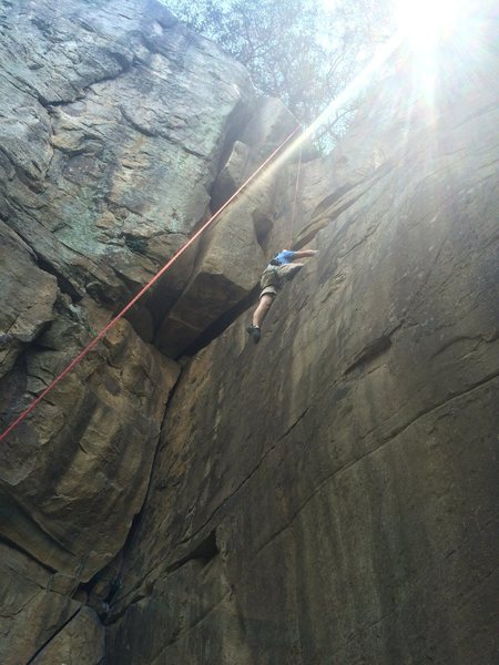 The crack before the roof is definitely the crux to me but not a bad climb