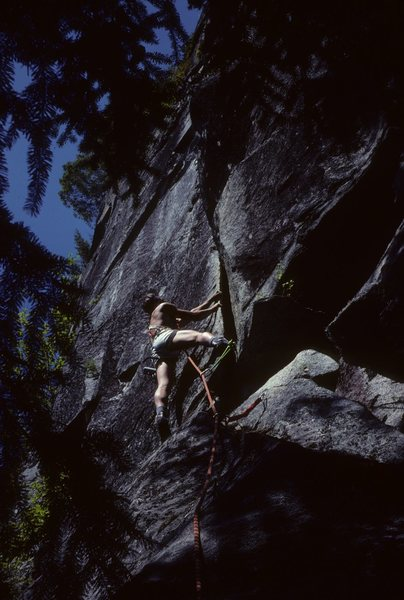 Rock Climbing Photo: Me on the first ascent, 1980. Photo by Greg Olsen.