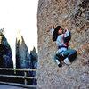 Yasuko Negoro bouldering at the bottom of the Thimble, 1988.