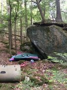 Rock Climbing Photo: Short route with a long hard move off the ground t...