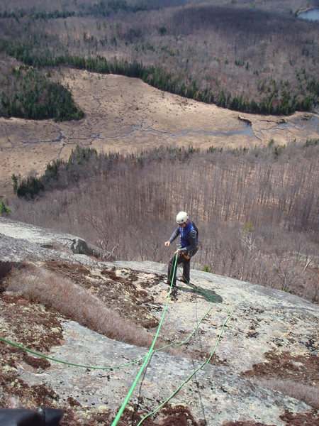 Tom L. rapping down on the first inspection of the Summit Dome Cliffs