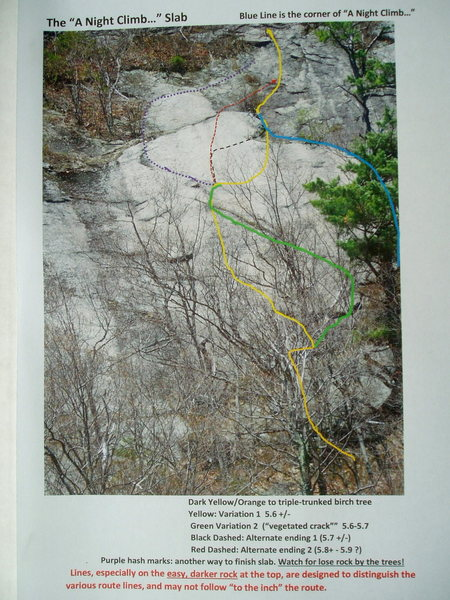 Route Photo for the Slab just left of &quot;A Night Climb...&quot;<br> Blue= Original FA line of &quot;Night Climb&quot; <br> Yellow = 5.6-5.6 <br> Green = 5.7<br> Black =  5.7 &quot;top out&quot; <br> Red = 5.8+ - 5.9+ &quot;top out&quot; <br> Dashed purple = easiest &quot;top out&quot;  <br>