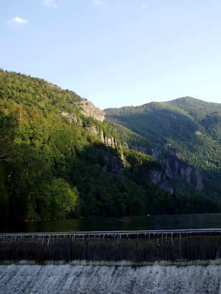 Fishhawk Cliffs and Lower Ausable Lake dam - the starting point for our adventure