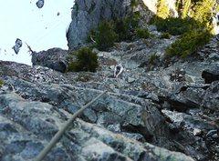 Rock Climbing Photo: Sam coming up P 1