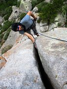 Rock Climbing Photo: Jeff climbing the awesome hand crack on Fred Rasmu...