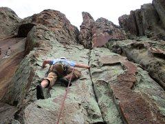 Rock Climbing Photo: Terry leading off Lego