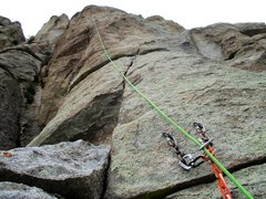 Rock Climbing Photo: The crux (10d) Pitch 2 pitch of Morning Glory.
