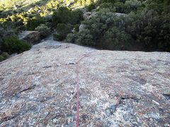 Rock Climbing Photo: Looking down the 5.6 slab on Theatre of Shadows. T...