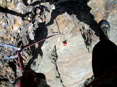 Rock Climbing Photo: Looking down from the top of the crux (5.8) Pitch ...