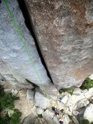 Rock Climbing Photo: Looking down the splitter hand-fist crack on Crack...