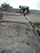 Rock Climbing Photo: Pulling the crux on FA day