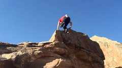 Rock Climbing Photo: The top. Stay on the line, stepping out left is no...