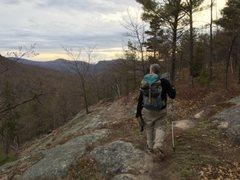 Rock Climbing Photo: Jay leading the way back at sunset