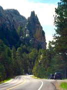 Rock Climbing Photo: Dire Spire from the road.  The engagement goes up ...