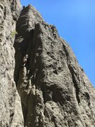 Rock Climbing Photo: Climb the chimney just to the left of Aaron in thi...