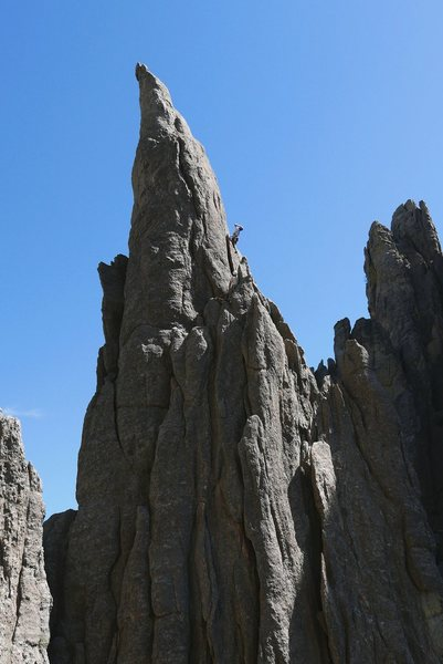 Rock Climbing Photo: Jay on Eyetooth 5.8 route.  From the top of this f...