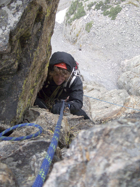 Rock Climbing Photo: Petite Grepon, P7. It gets cold fast up there (Dia...