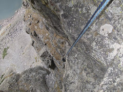 Rock Climbing Photo: Petite Grepon, Rappelling from the Summit.