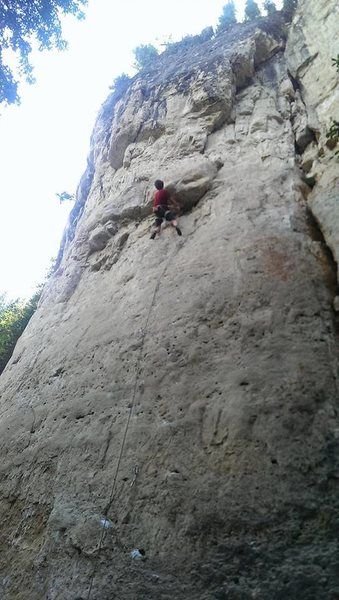 Harrison sending Obi-Wan KanBlowMe.<br> <br> This is the route that goes straight up the middle of the wall. The variation that heads to the right is Admiral Slackbar, 5.12b