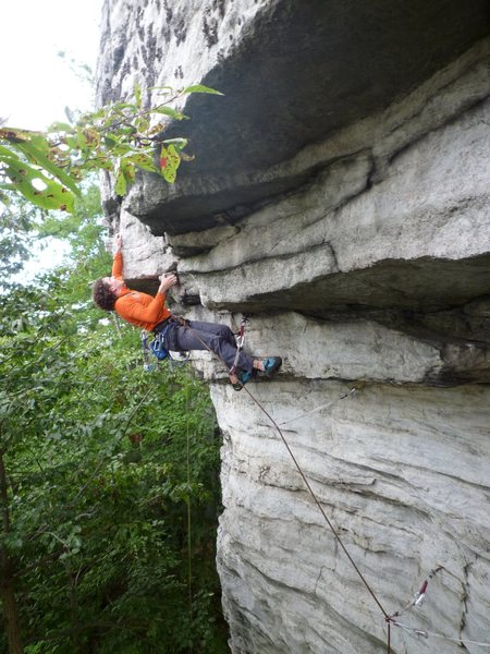 Rock Climbing Photo: One of the crux moves on Dharmakaya.