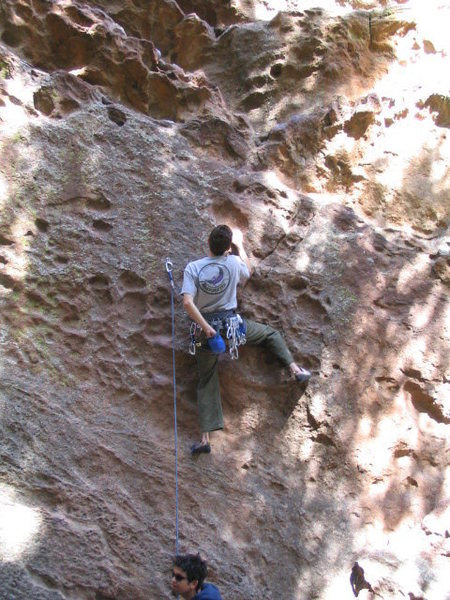What if You're Not?(?), 2005.<br> <br> Fun hueco pulling in the Flatirons, with the belayer 101% on the ball.