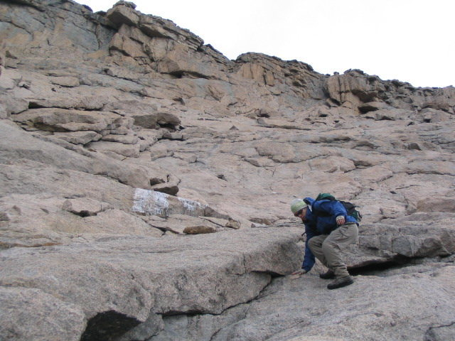 J.P. Gartland descending the &quot@SEMICOLON@homestretch&quot@SEMICOLON@ of the Keyhole Route after an icy ascent of Cables, Fall 2005.