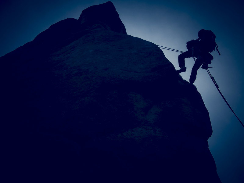 Rock Climbing Photo: Rap in to the abyss. Hells Canyon, CO