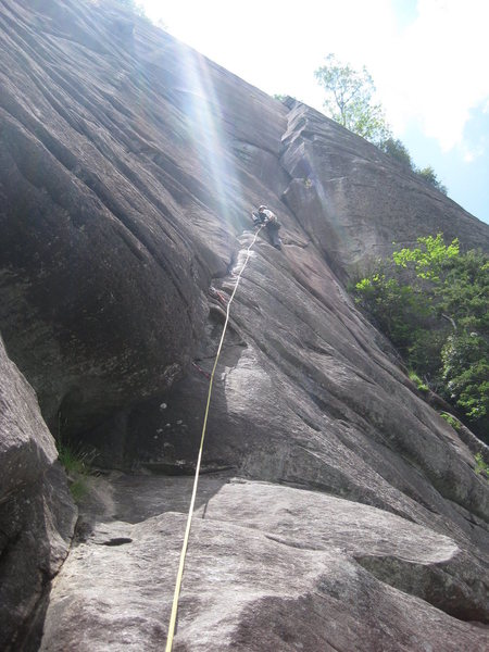 Rock Climbing Photo: Nearing the spicy crux of pitch 2