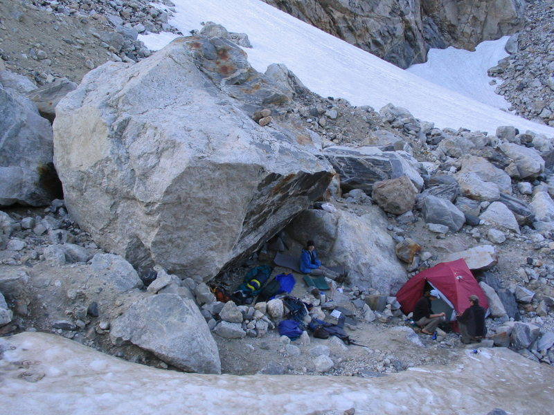 Rock Climbing Photo: Protected bivy sites on the Moraine.  These are no...