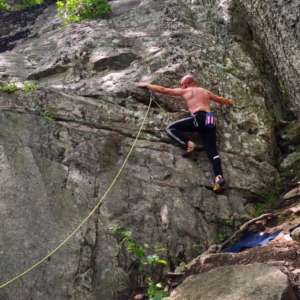 Leading a super easy 5.6 on the Meat Wall in Hidden Valley.