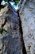Rock Climbing Photo: Limestone offwidth