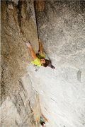 Rock Climbing Photo: Brad Wilson pulling through the crux move on pitch...