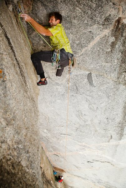 Rock Climbing Photo: Brad Wilson on pitch 5 of the Undertoad variation.