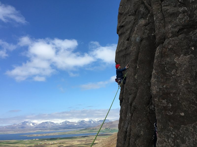 Fran leading on the crag's right side.