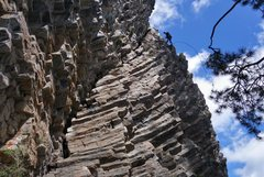 Rock Climbing Photo: Looking up at the overhanging hexagonals on the ri...