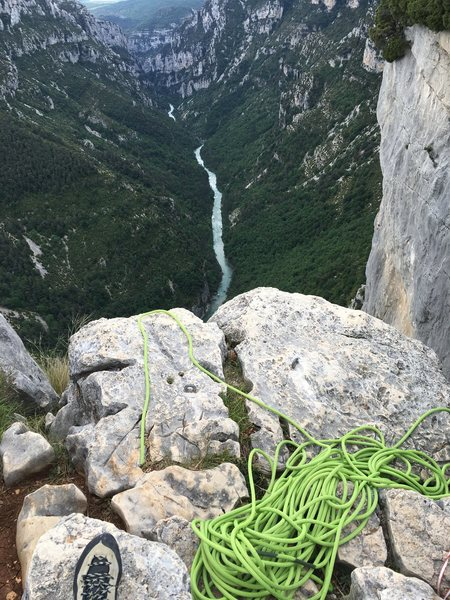 Rock Climbing Photo: Anchor for rappelling at the top of Face au Public...