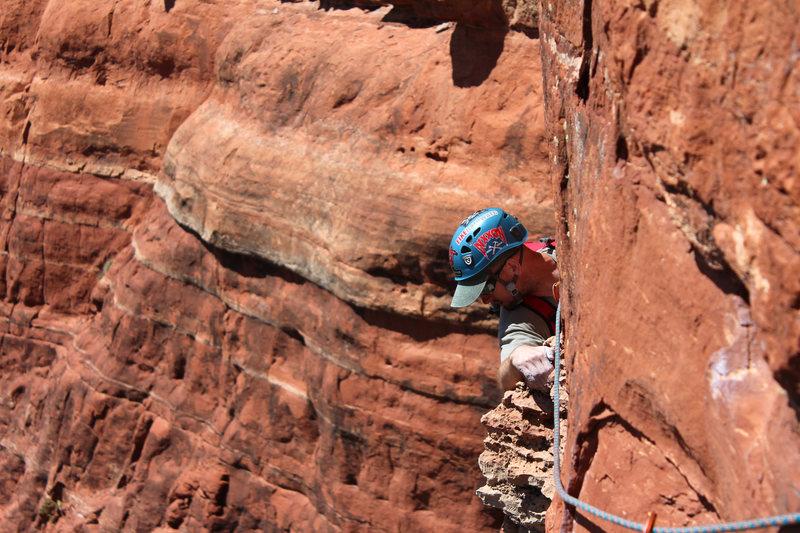 Rock Climbing Photo: Chris finishing the traverse pitch 2