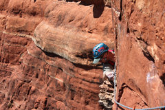 Rock Climbing Photo: Chris finishing the traverse pitch 2