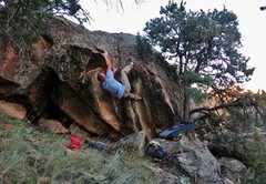 Rock Climbing Photo: Working the top out sequence of Nonplussed (same a...