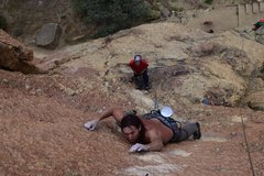 Rock Climbing Photo: John Collins getting through the Face Crux