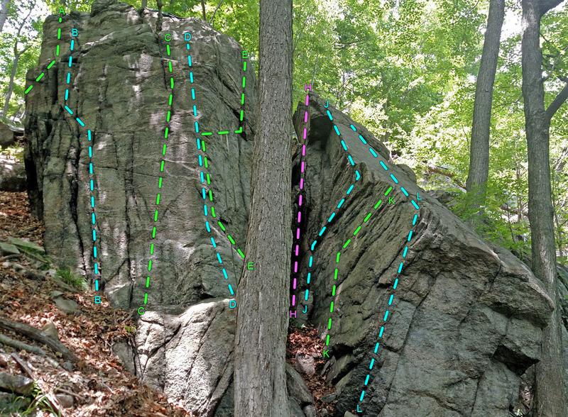 The Beard - SW + ENE face of L boulder <br> and WSW face of R boulder<br> overview of routes:<br> A. Stubbl<br> B. The Tick<br> C. The Louse<br> D. Nose Hair<br> E. Masada Lite<br> H. Directe de la Momie<br> J. Col de Lui d&#39;Aï<br> K. Sormiou Grande Traversée<br> L. Extrême Bec<br> <br>