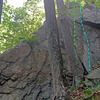 The Beard - E face of R boulder<br> overview of routes:<br> M. Breakneck<br> N. Iron Bridge<br> P. Fiddlers Elbow